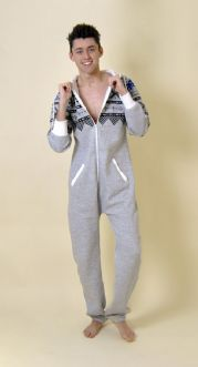 Mens Tall Aztec Print Onesie with Hood